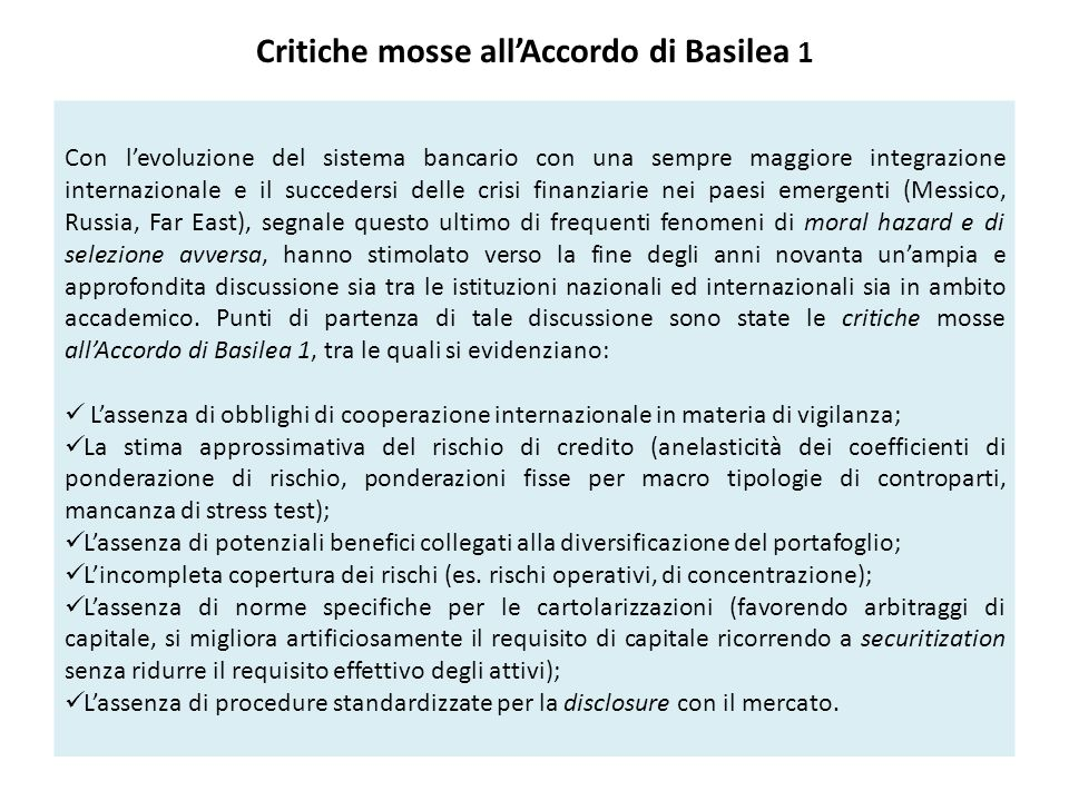 Critiche mosse all'Accordo di Basilea 1
