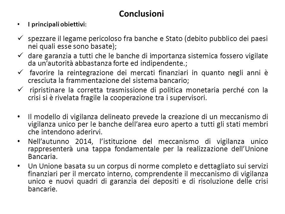 Conclusioni I principali obiettivi: spezzare il legame pericoloso fra banche e Stato (debito pubblico dei paesi nei quali esse sono basate);