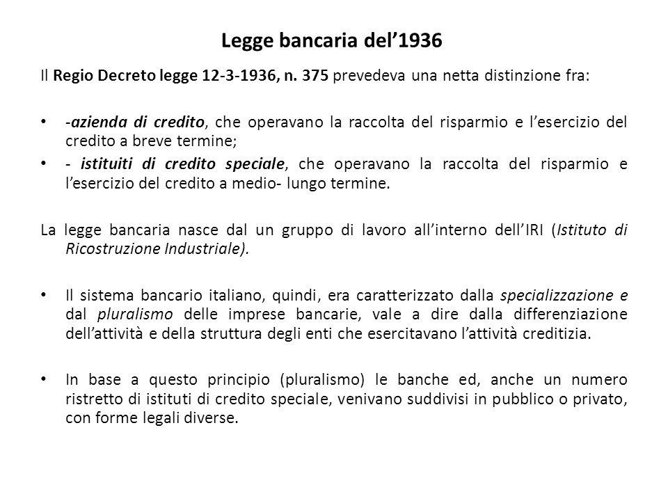 Legge bancaria del'1936 Il Regio Decreto legge 12-3-1936, n. 375 prevedeva una netta distinzione fra: