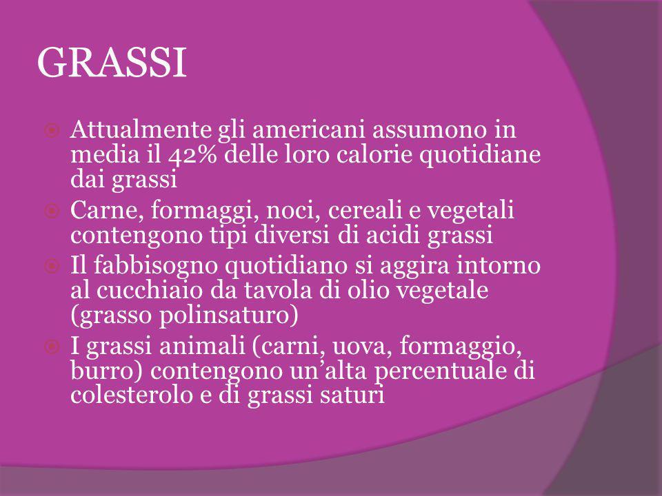 GRASSI Attualmente gli americani assumono in media il 42% delle loro calorie quotidiane dai grassi.