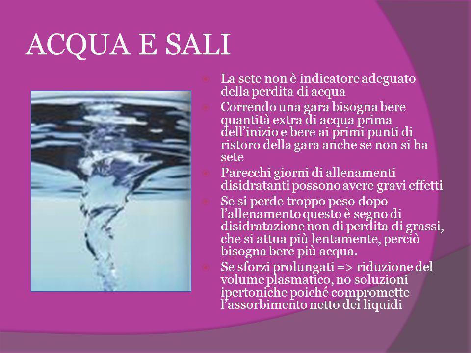 ACQUA E SALI La sete non è indicatore adeguato della perdita di acqua