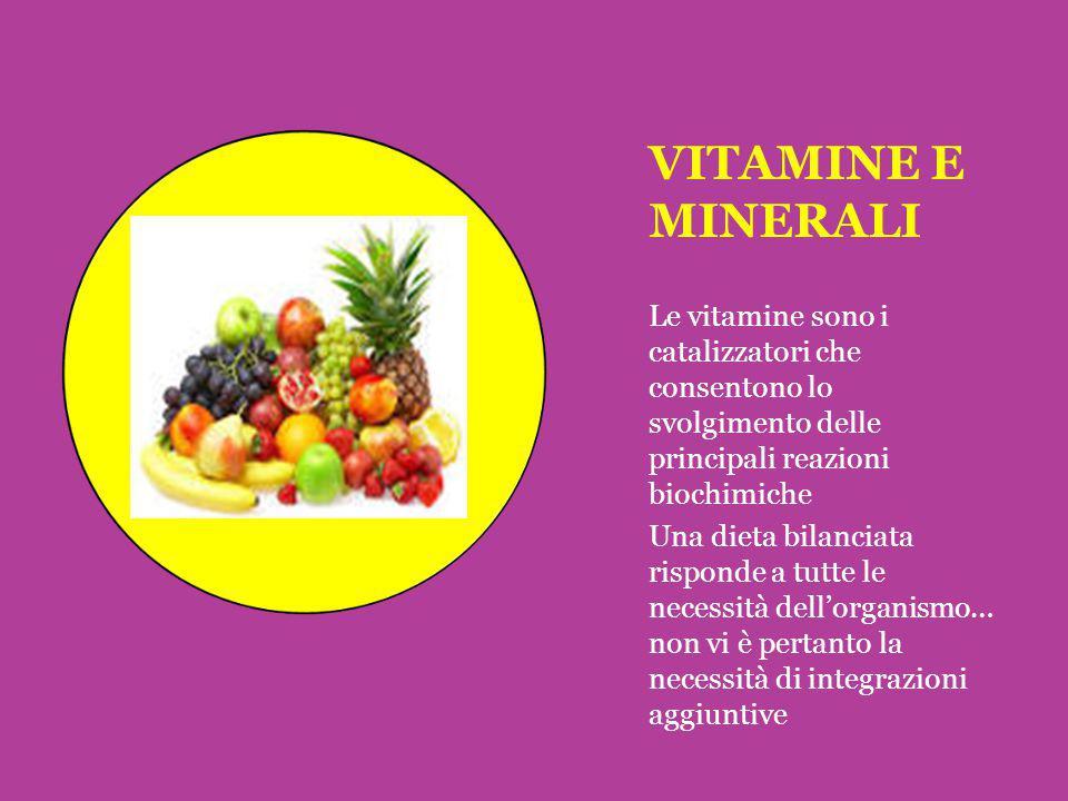 VITAMINE E MINERALI Le vitamine sono i catalizzatori che consentono lo svolgimento delle principali reazioni biochimiche.