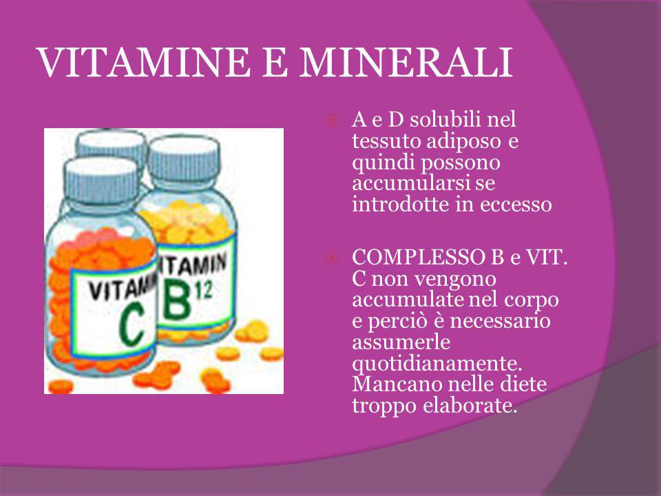 VITAMINE E MINERALI A e D solubili nel tessuto adiposo e quindi possono accumularsi se introdotte in eccesso.