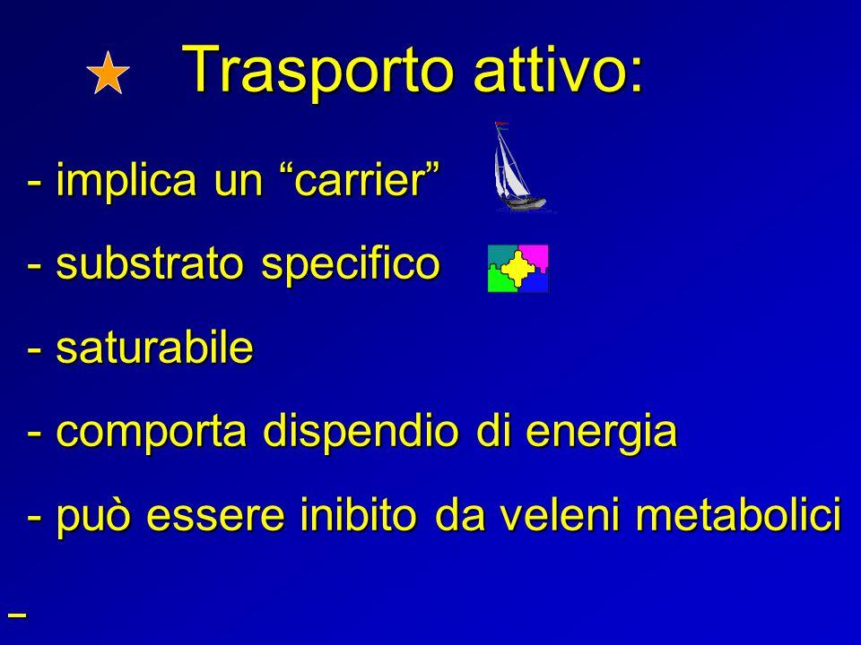 Trasporto attivo: - substrato specifico - saturabile