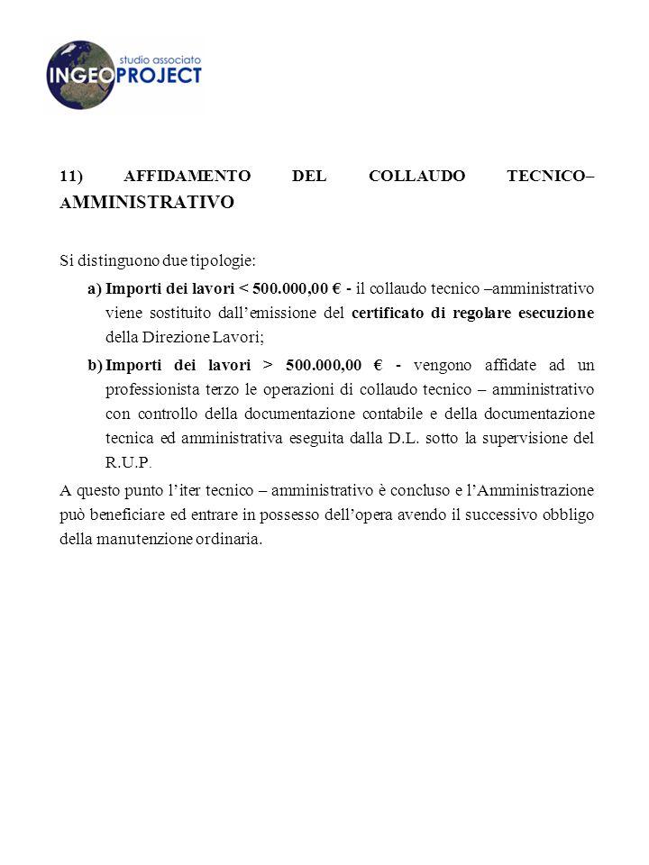 11) AFFIDAMENTO DEL COLLAUDO TECNICO–AMMINISTRATIVO