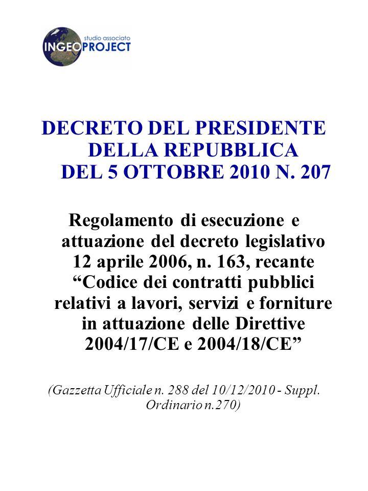 DECRETO DEL PRESIDENTE DELLA REPUBBLICA DEL 5 OTTOBRE 2010 N. 207