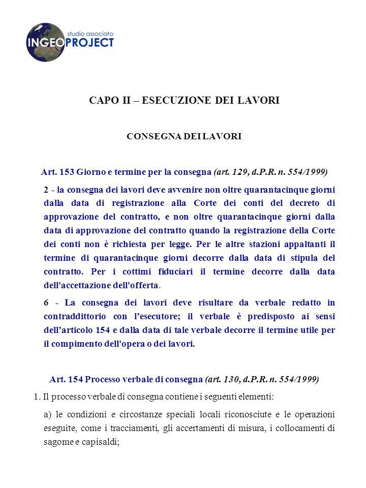 CAPO II – ESECUZIONE DEI LAVORI