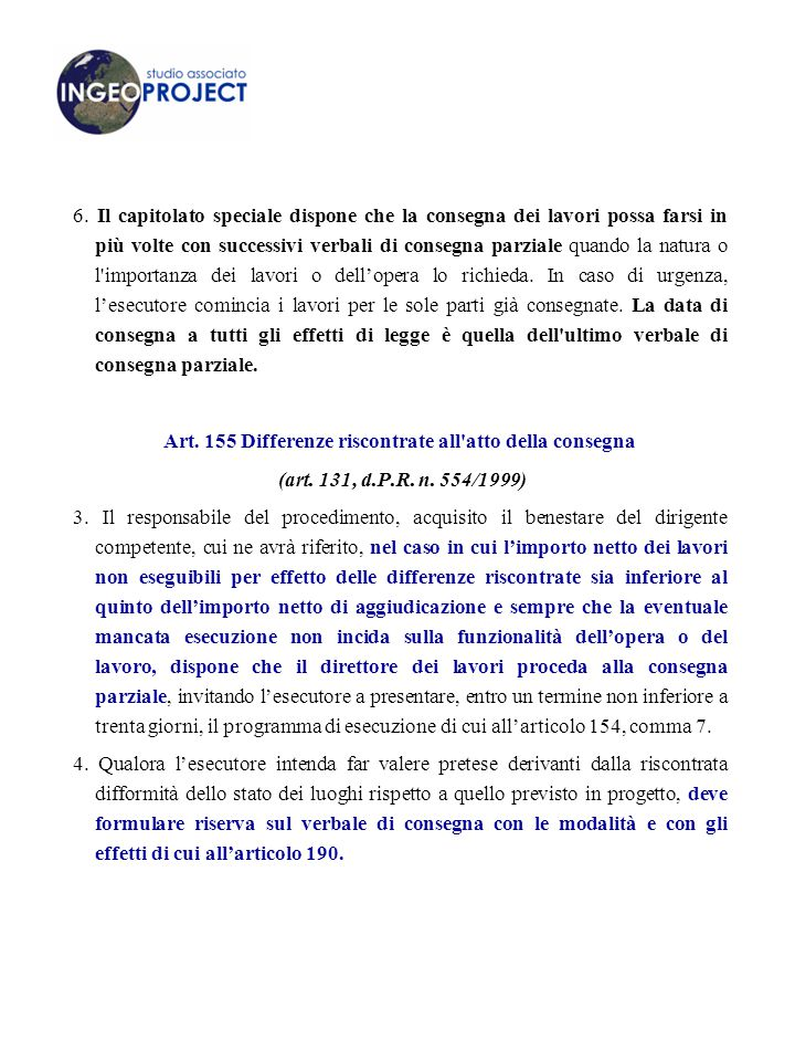 Art. 155 Differenze riscontrate all atto della consegna