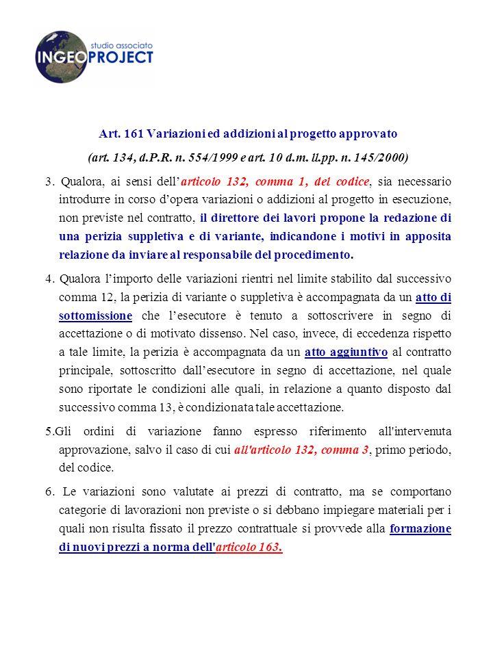 Art. 161 Variazioni ed addizioni al progetto approvato
