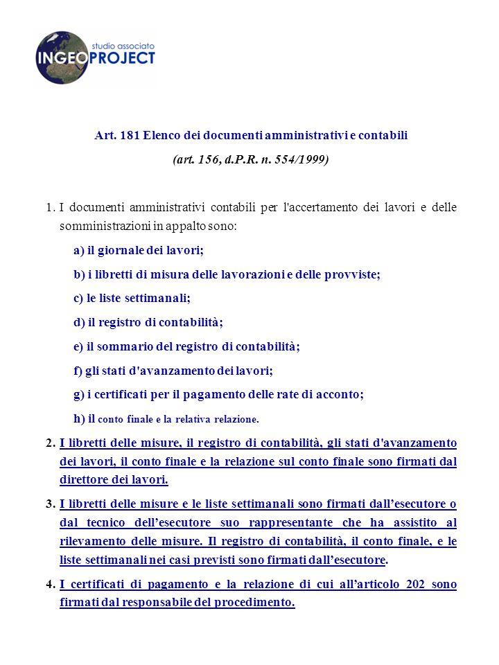 Art. 181 Elenco dei documenti amministrativi e contabili