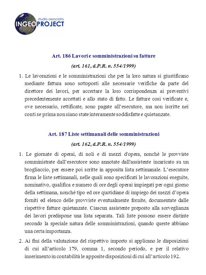 Art. 186 Lavori e somministrazioni su fatture