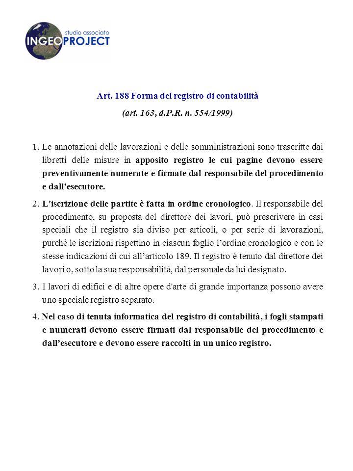 Art. 188 Forma del registro di contabilità