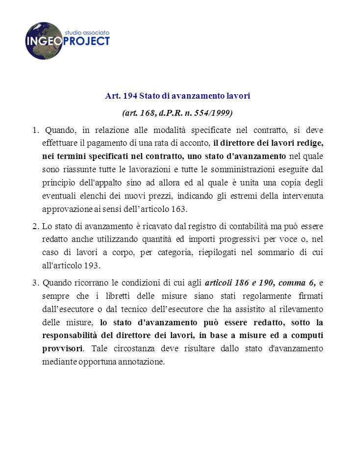 Art. 194 Stato di avanzamento lavori