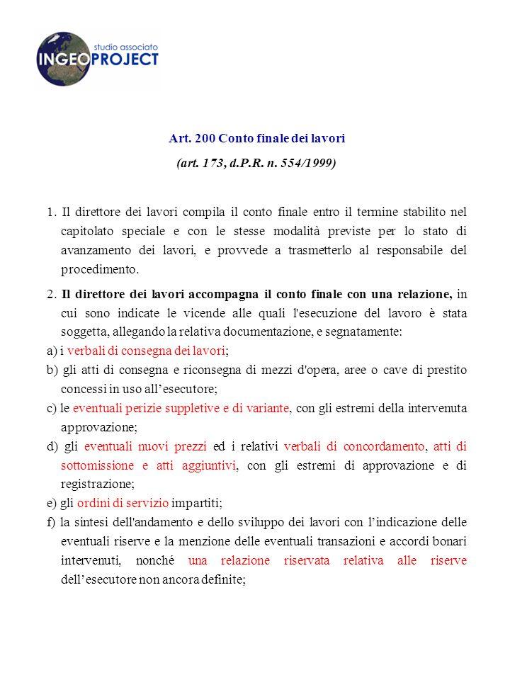 Art. 200 Conto finale dei lavori