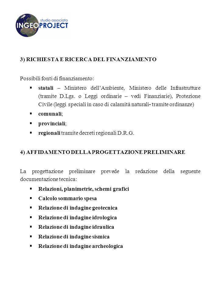 3) RICHIESTA E RICERCA DEL FINANZIAMENTO