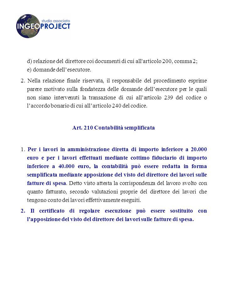 Art. 210 Contabilità semplificata