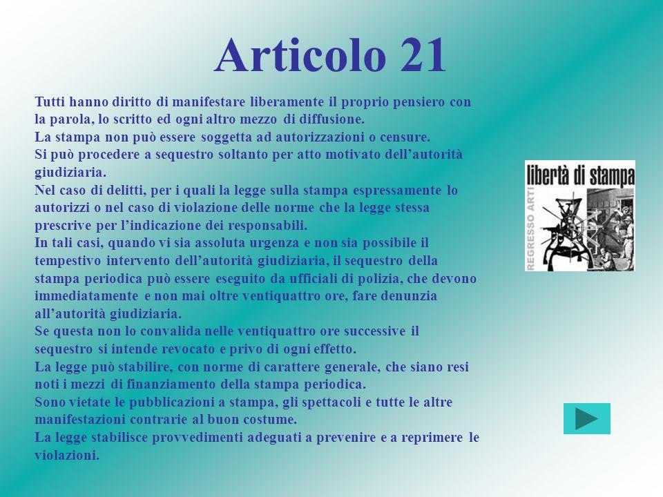 Articolo 21 Tutti hanno diritto di manifestare liberamente il proprio pensiero con la parola, lo scritto ed ogni altro mezzo di diffusione.