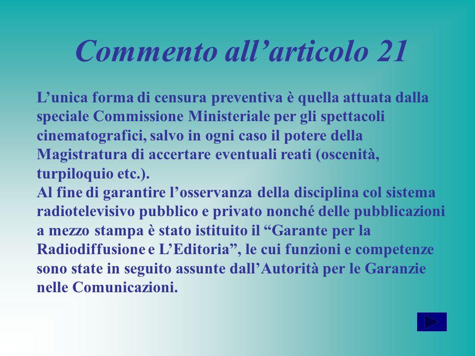 Commento all'articolo 21