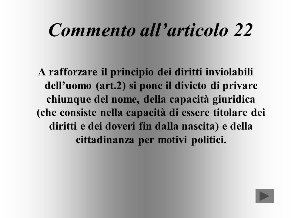 Commento all'articolo 22