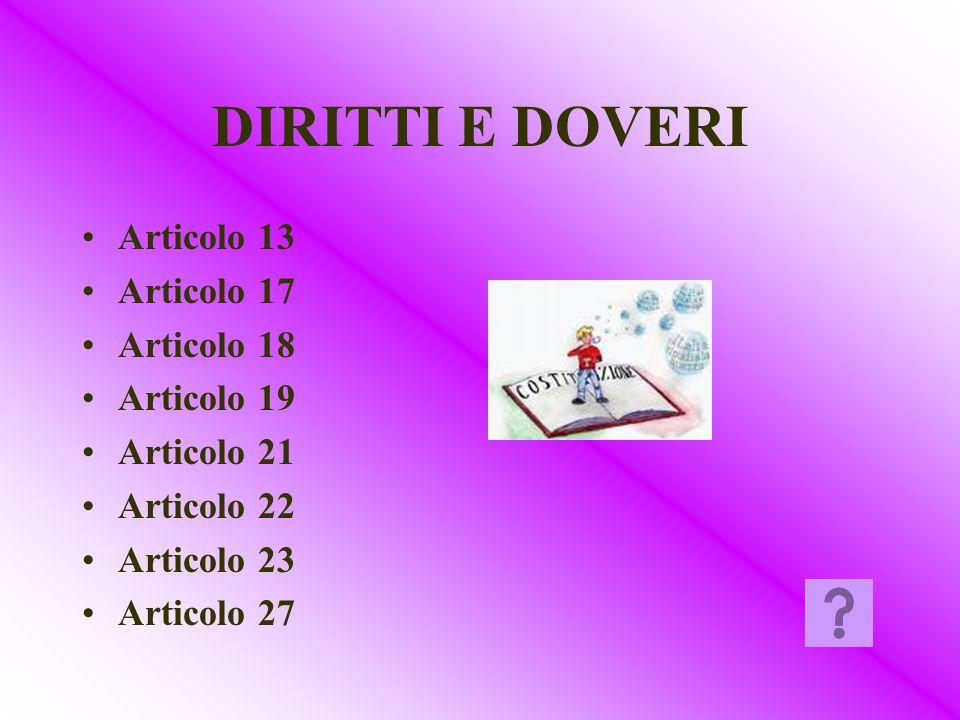 DIRITTI E DOVERI Articolo 13 Articolo 17 Articolo 18 Articolo 19