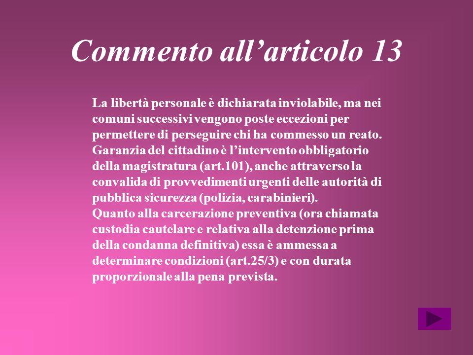 Commento all'articolo 13