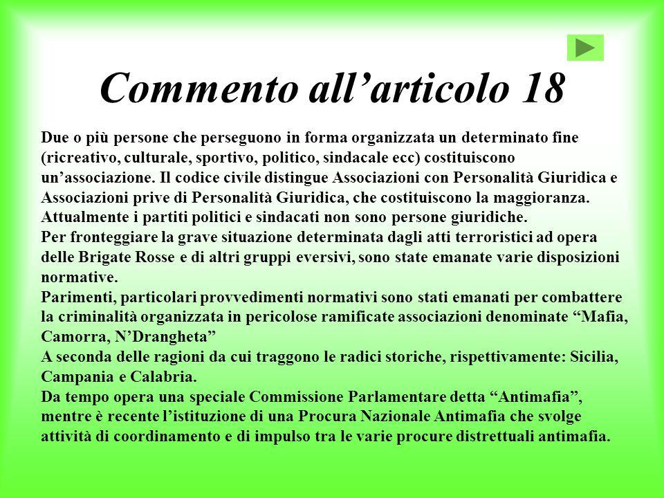 Commento all'articolo 18