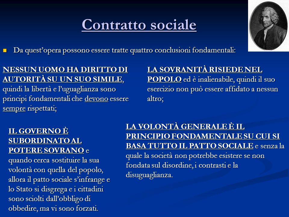 Contratto sociale Da quest'opera possono essere tratte quattro conclusioni fondamentali: