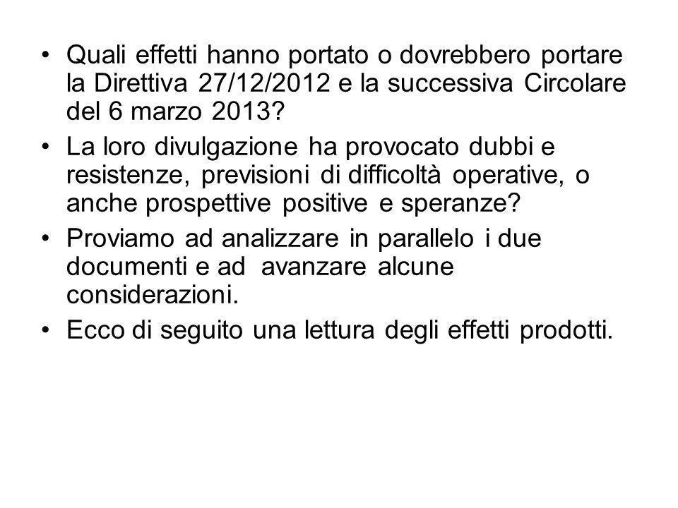Quali effetti hanno portato o dovrebbero portare la Direttiva 27/12/2012 e la successiva Circolare del 6 marzo 2013