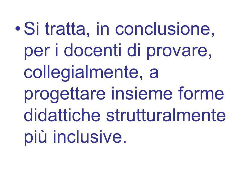 Si tratta, in conclusione, per i docenti di provare, collegialmente, a progettare insieme forme didattiche strutturalmente più inclusive.