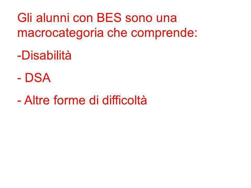Gli alunni con BES sono una macrocategoria che comprende: