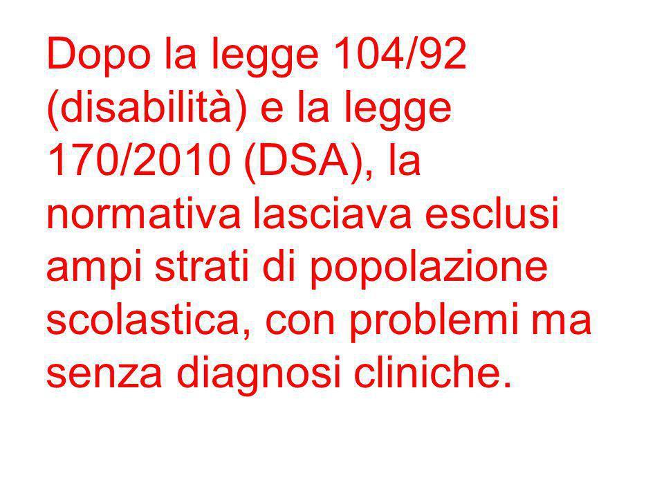 Dopo la legge 104/92 (disabilità) e la legge 170/2010 (DSA), la normativa lasciava esclusi ampi strati di popolazione scolastica, con problemi ma senza diagnosi cliniche.