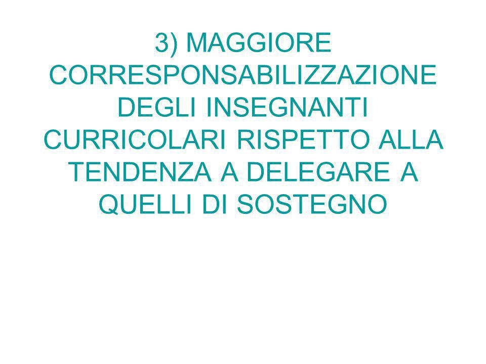 3) MAGGIORE CORRESPONSABILIZZAZIONE DEGLI INSEGNANTI CURRICOLARI RISPETTO ALLA TENDENZA A DELEGARE A QUELLI DI SOSTEGNO