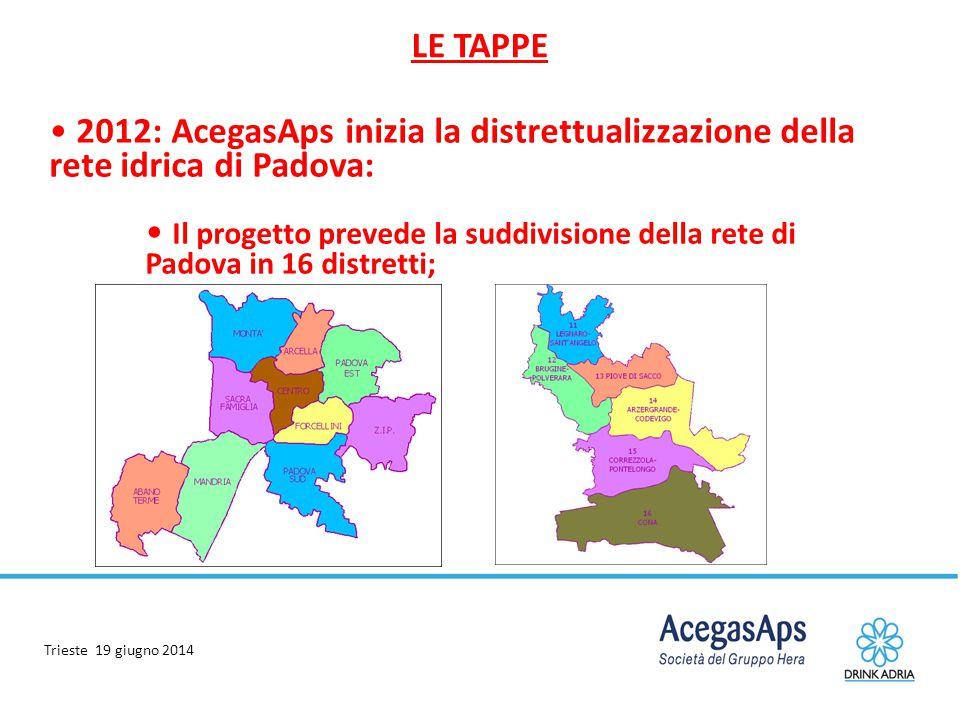 LE TAPPE 2012: AcegasAps inizia la distrettualizzazione della rete idrica di Padova: