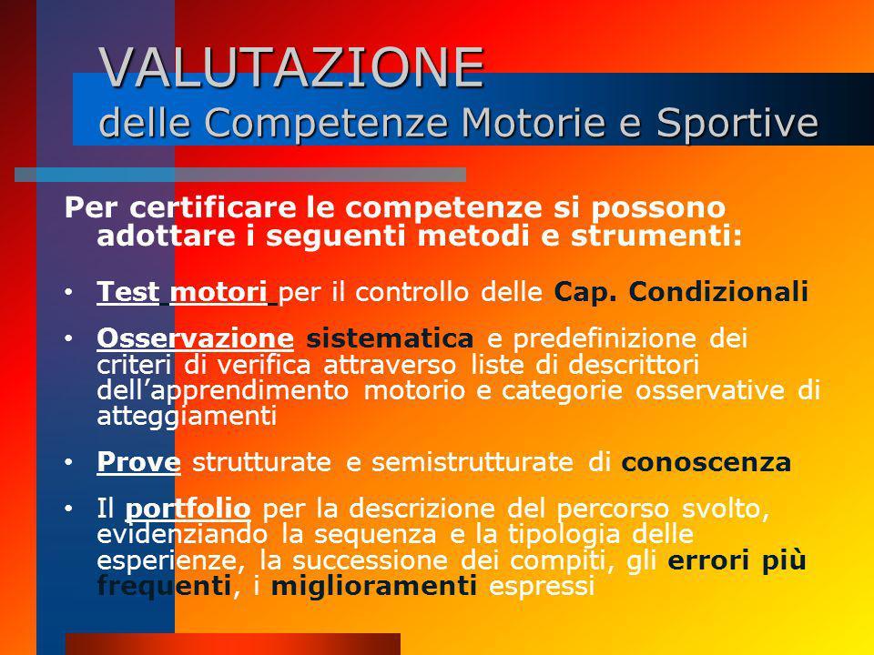 VALUTAZIONE delle Competenze Motorie e Sportive