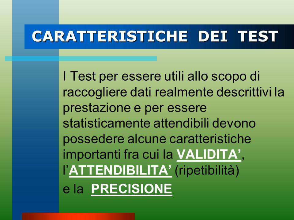 CARATTERISTICHE DEI TEST