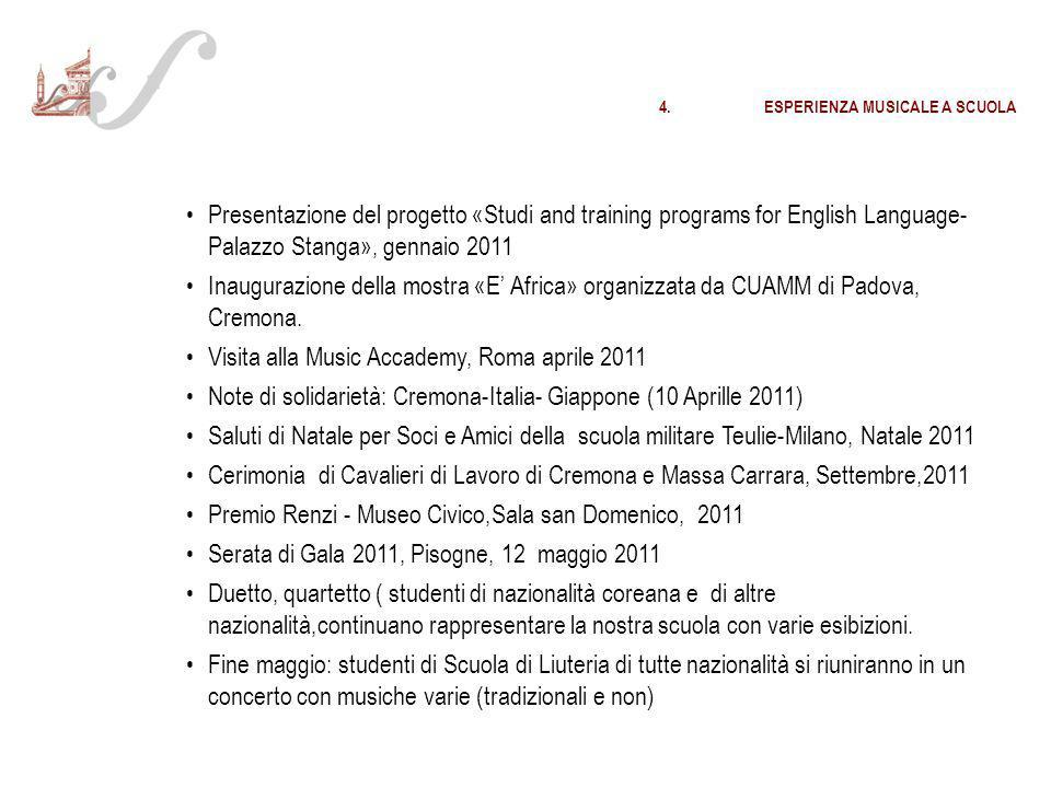 Visita alla Music Accademy, Roma aprile 2011
