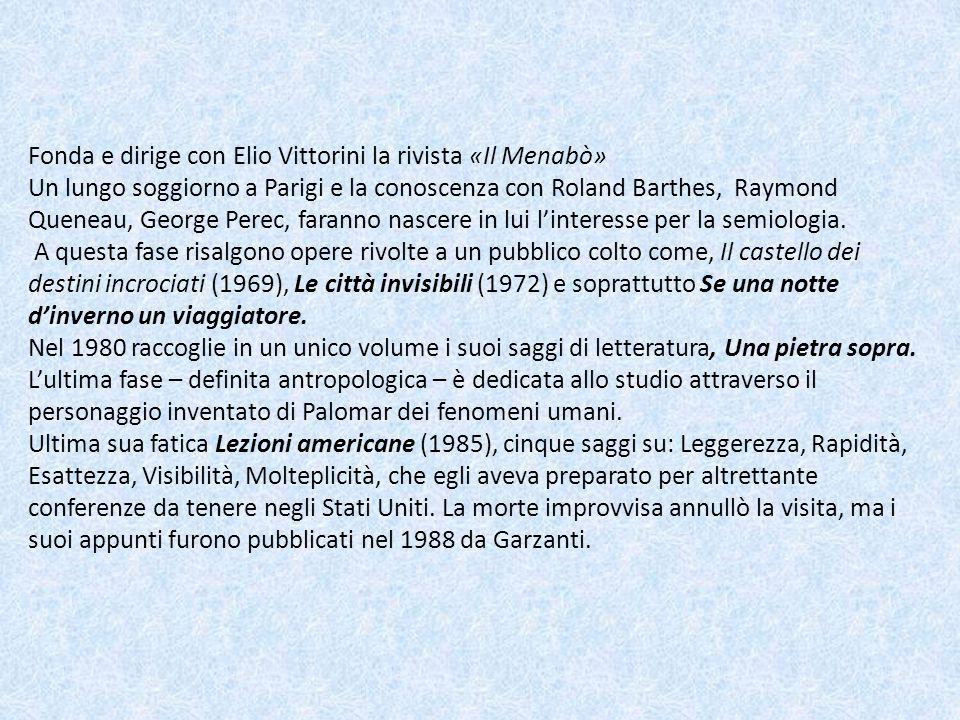 Fonda e dirige con Elio Vittorini la rivista «Il Menabò» Un lungo soggiorno a Parigi e la conoscenza con Roland Barthes, Raymond Queneau, George Perec, faranno nascere in lui l'interesse per la semiologia.