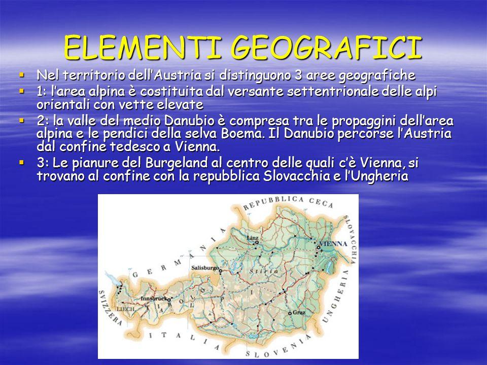 ELEMENTI GEOGRAFICI Nel territorio dell'Austria si distinguono 3 aree geografiche.