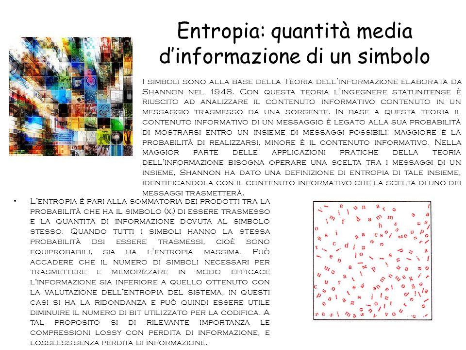 Entropia: quantità media d'informazione di un simbolo