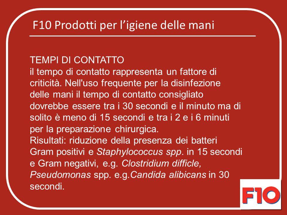 F10 Prodotti per l'igiene delle mani