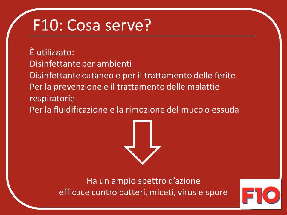 F10: Cosa serve È utilizzato: Disinfettante per ambienti