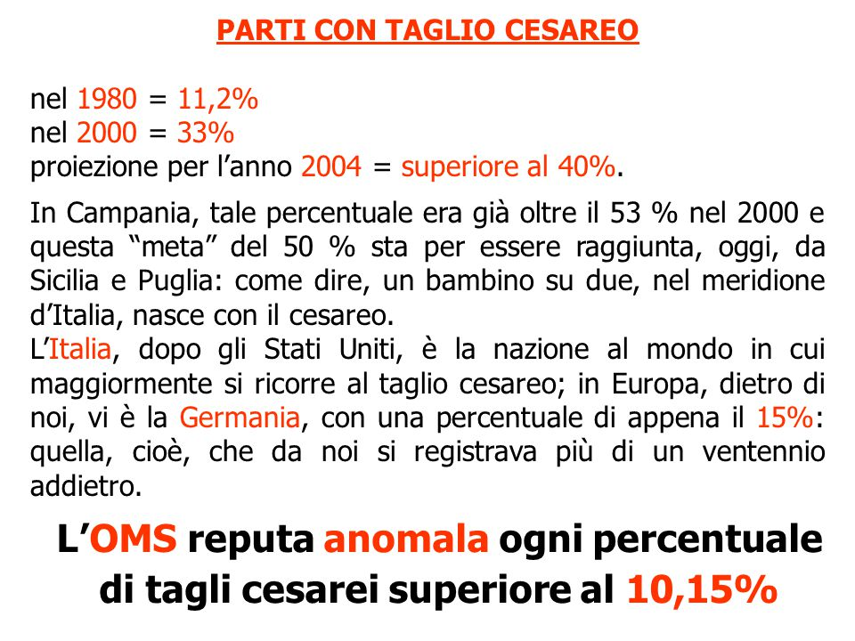 PARTI CON TAGLIO CESAREO