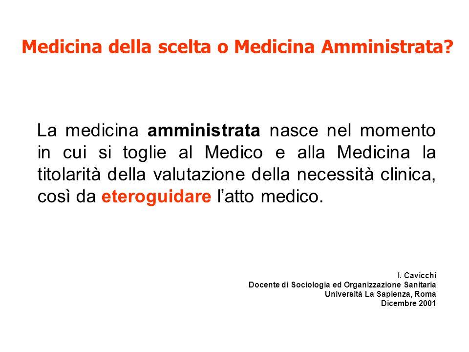 Medicina della scelta o Medicina Amministrata