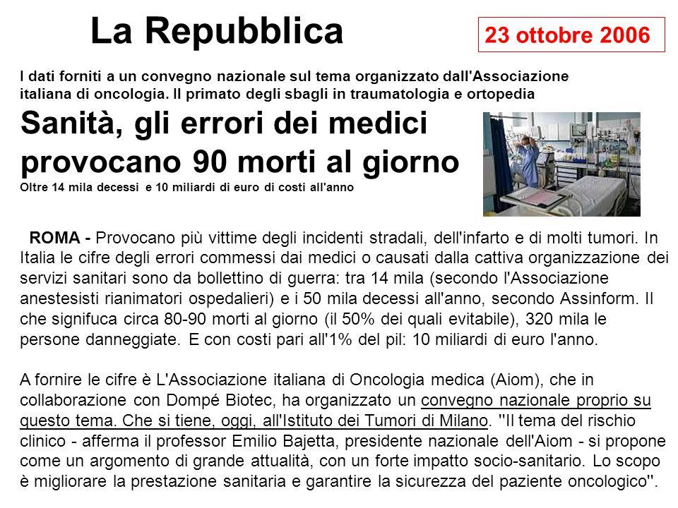 La Repubblica 23 ottobre 2006.