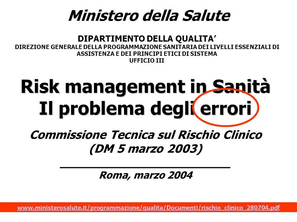 Risk management in Sanità Il problema degli errori