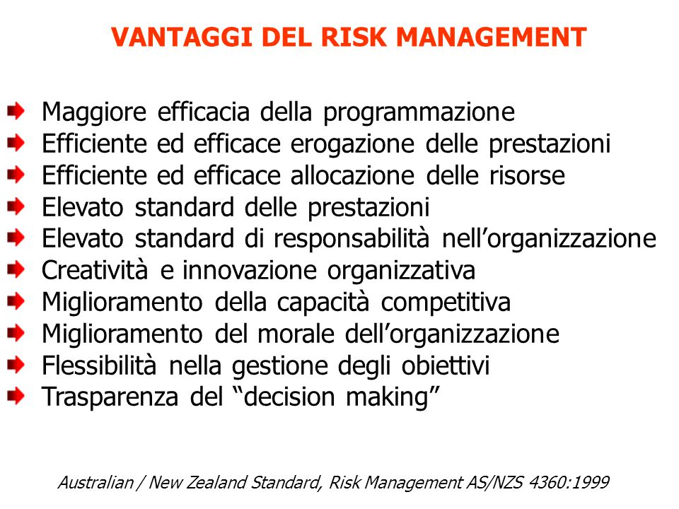 VANTAGGI DEL RISK MANAGEMENT