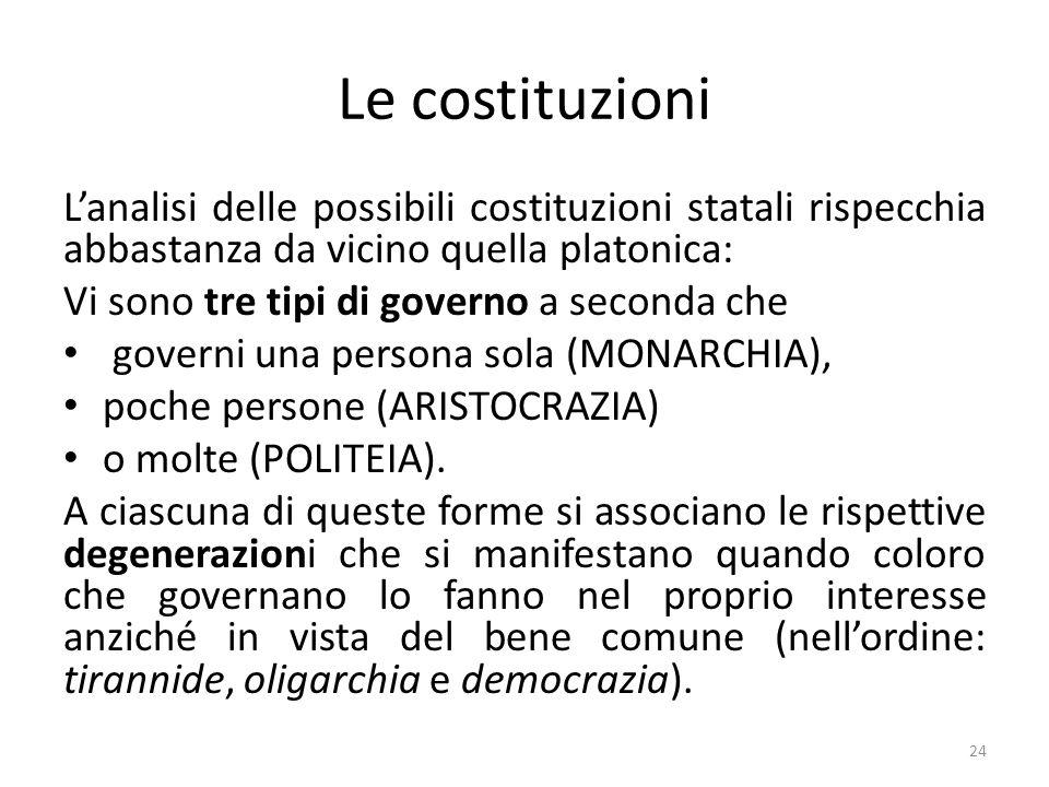 Le costituzioni L'analisi delle possibili costituzioni statali rispecchia abbastanza da vicino quella platonica: