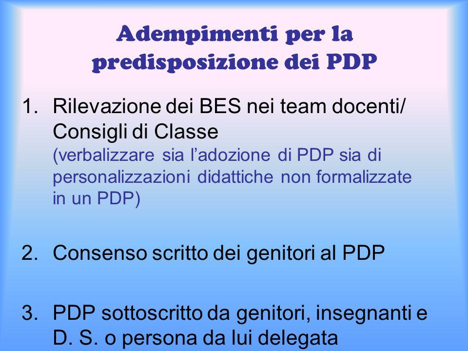 Adempimenti per la predisposizione dei PDP