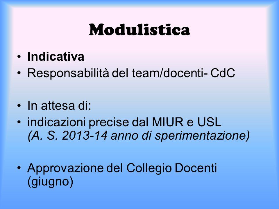 Modulistica Indicativa Responsabilità del team/docenti- CdC