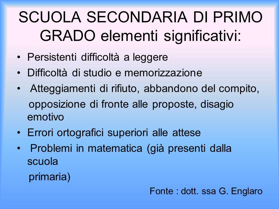 SCUOLA SECONDARIA DI PRIMO GRADO elementi significativi: